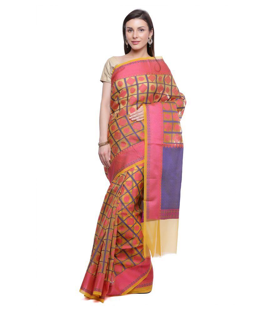 HUMAIRAH Pink and Beige Silk Saree