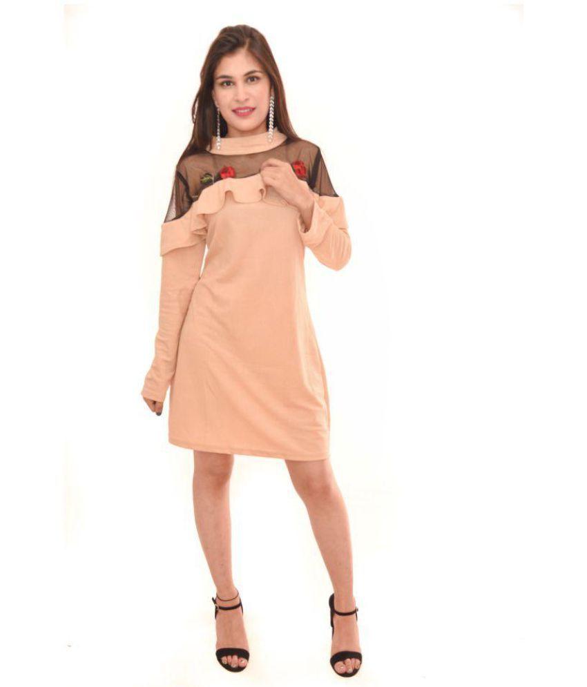 Fashionaire Poly Cotton Beige Shift Dress