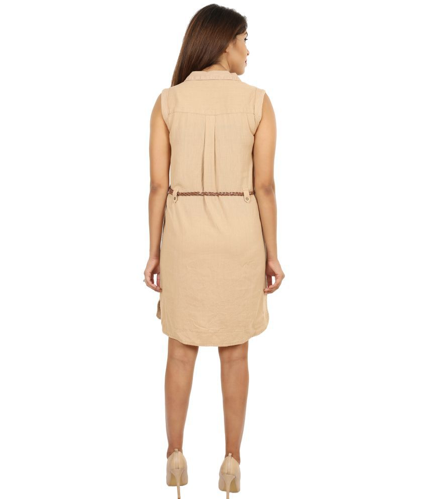 7afd6ea239e2 GOODWILL Cotton Beige Pencil Dress - Buy GOODWILL Cotton Beige Pencil Dress  Online at Best Prices in India on Snapdeal