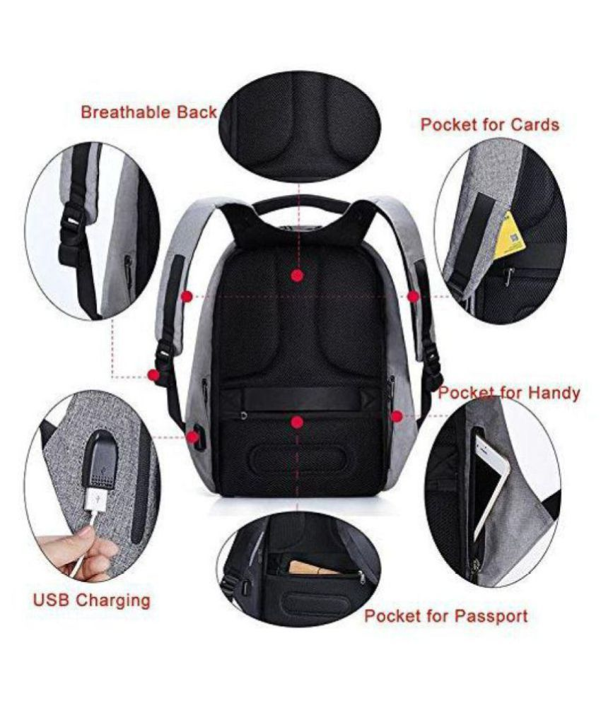 Anti Theft Grey Backpack Waterproof College Bag Notebook Protector Laptop