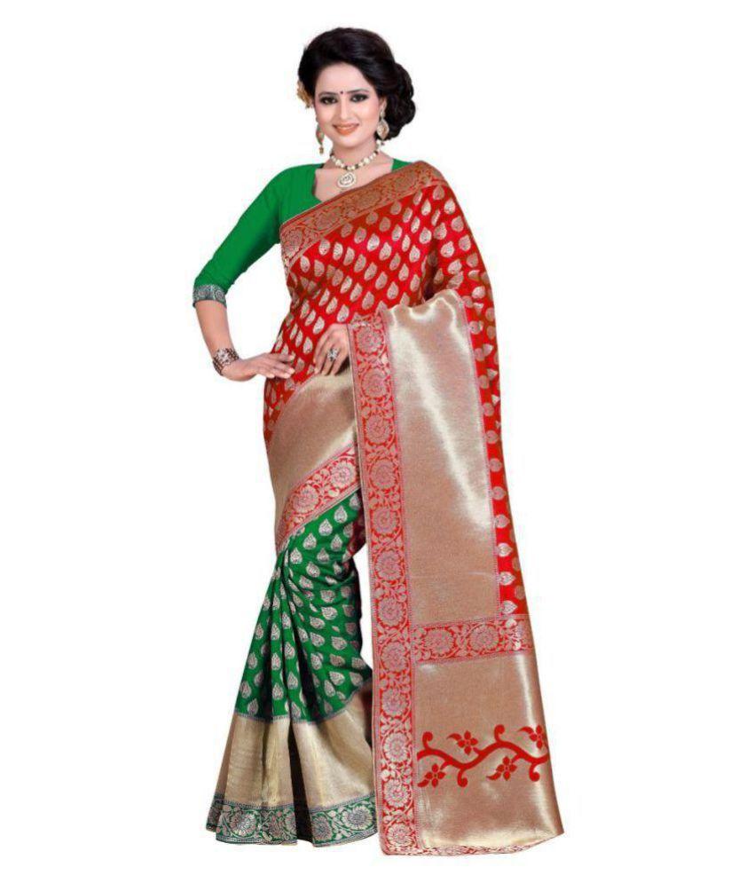 Fabdiwa Fashion Red Banarasi Silk Saree