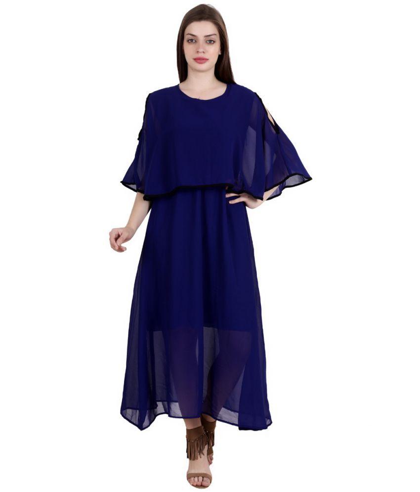 Fashionaire Georgette Blue Empire Dress