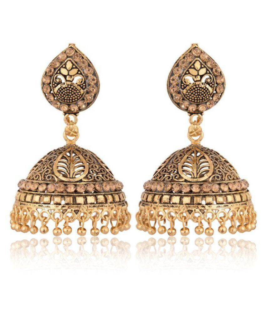 Artificial Gold and Black Base Metal Jhumki for Women