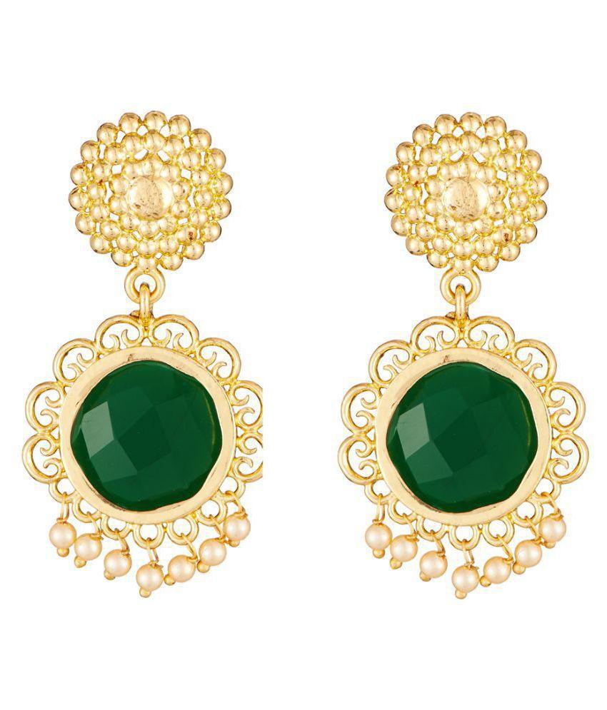 Elakshi Artistically Crafted  Green Stone Gold Plated Women Earrrings (SC_1026_ER)