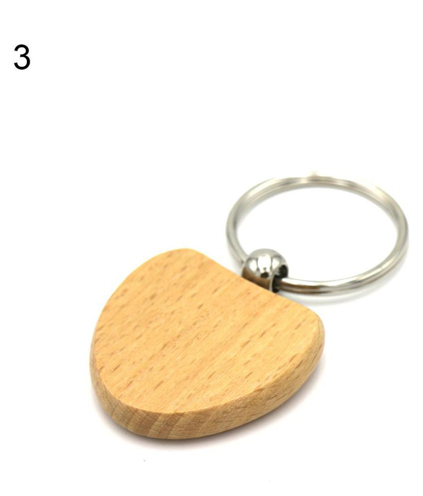 Fashion Wooden Round Heart Square Pendant Cell Phone Keychain Purse Bag Key Ring