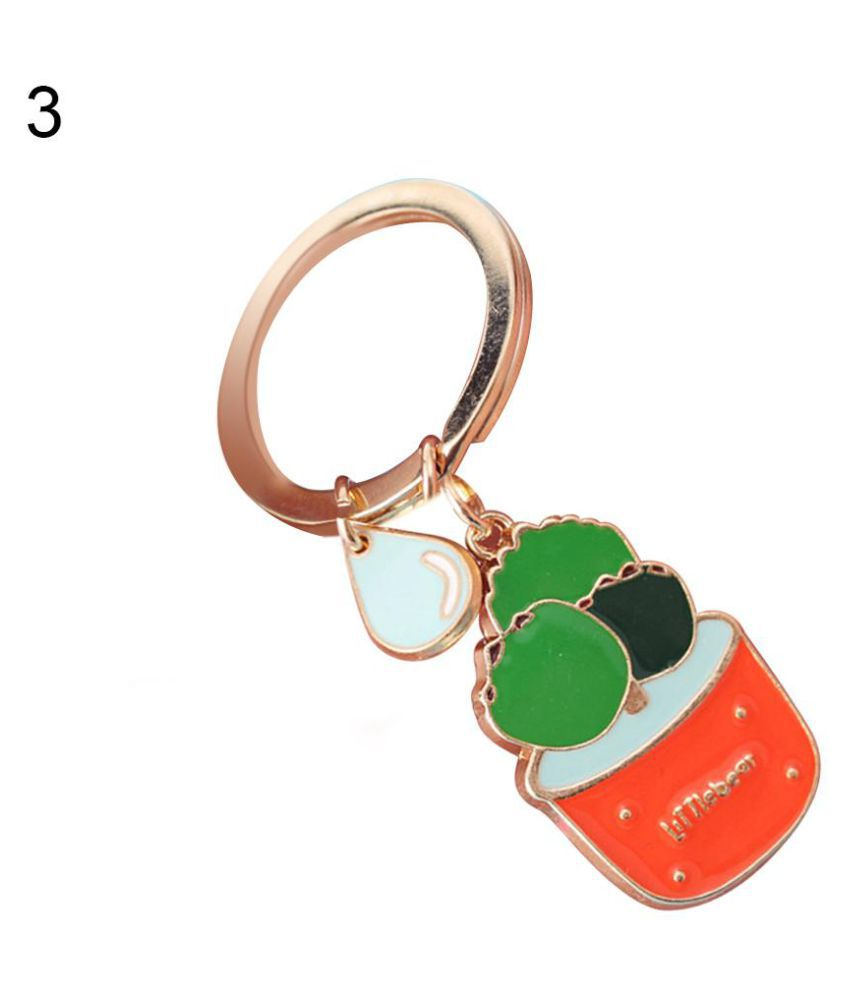Enamel Cactus Keychain Women Succulent Potted Car Key Holder Ring Bag Ornament