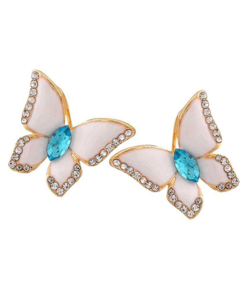 Maayra Cute Butterfly Earrings White Blue Clip On Dailywear Jewellery