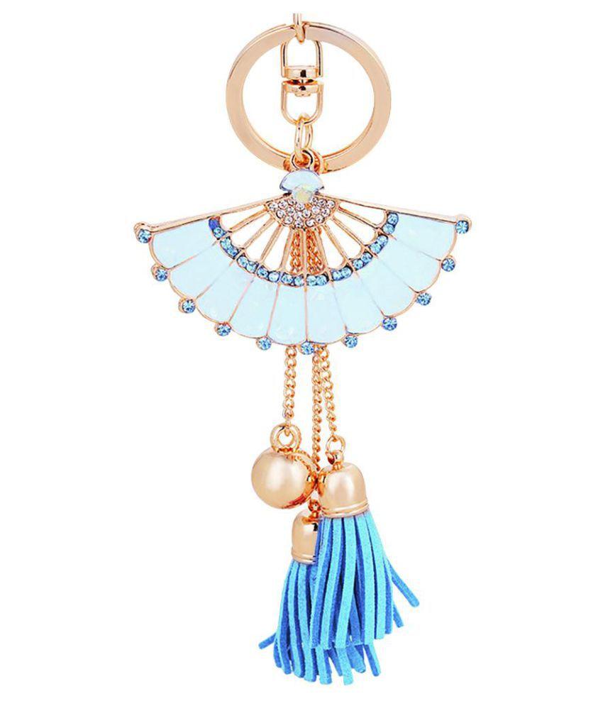 Fashion Shiny Rhinestone Fan Shaped Bead Tassel Pendant Enamel Key Chain Keyring