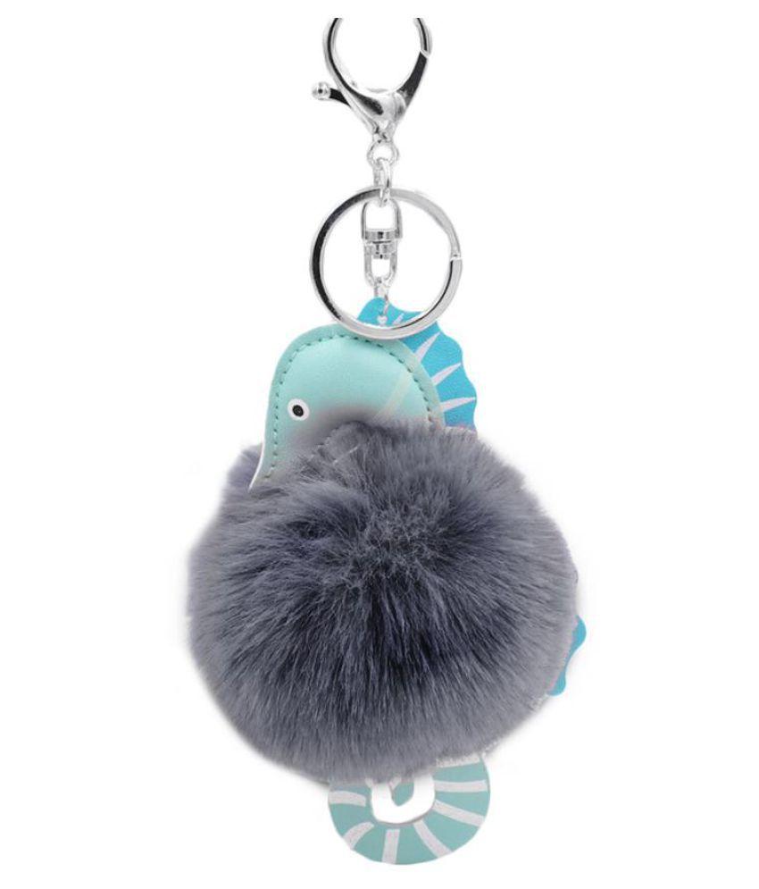 Fluffy Hippocampus Pompom Key Ring Holder Keychain Women Bag Pendant Ornament