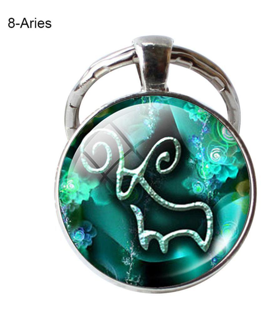 12 Constellation Zodiac Sign Round Glass Pendant Car Key Ring Holder Keychain