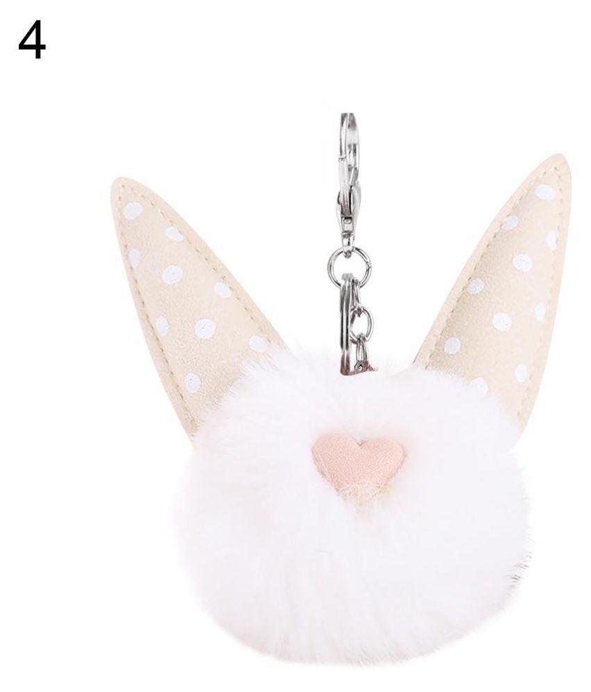 Cute Fluffy Dot Heart Cat Ear Pompom Key Ring Holder Keychain Car Bag Ornament
