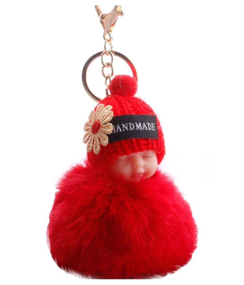 Flower Knitted Hat Sleeping Baby Doll Pompom Charm Key Ring Keychain Bag Pendant