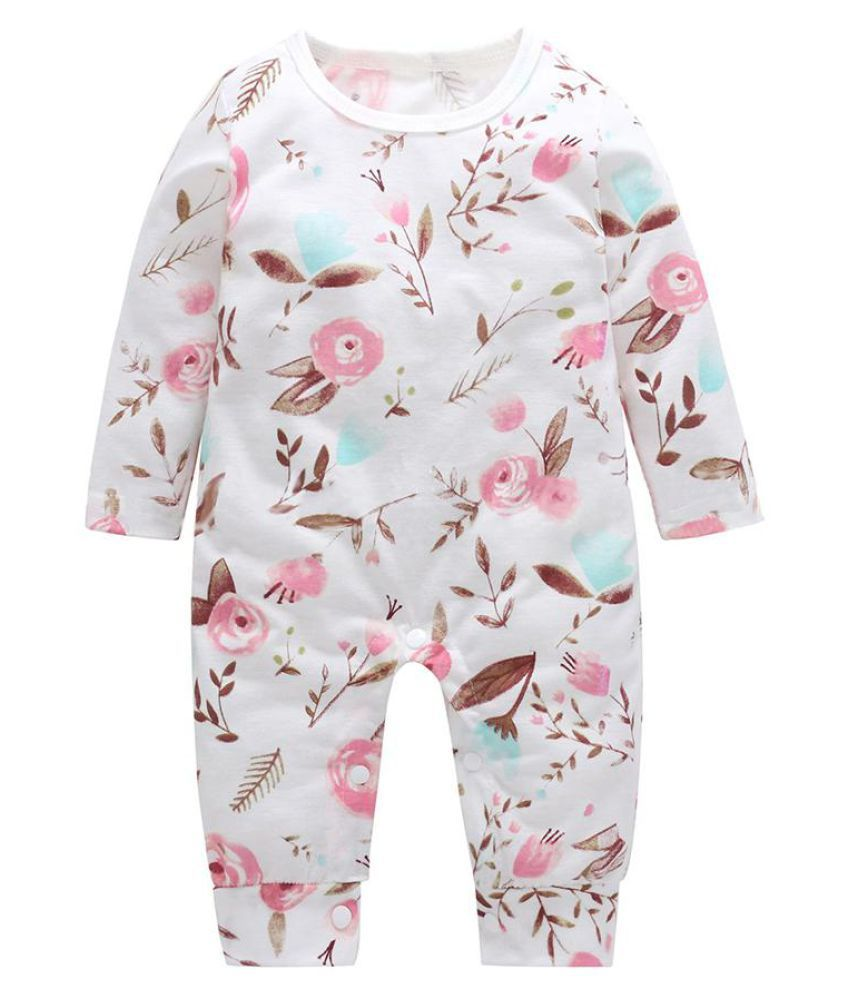 e274ce86bbe Flower Pattern Long Sleeve Infant Baby Girls Cotton Romper Jumpsuit Clothes  ...