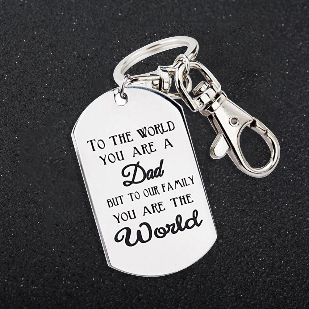 Men Letters Tag Pendant Charm Car Keychain Key Ring Holder Ornament Father Gift