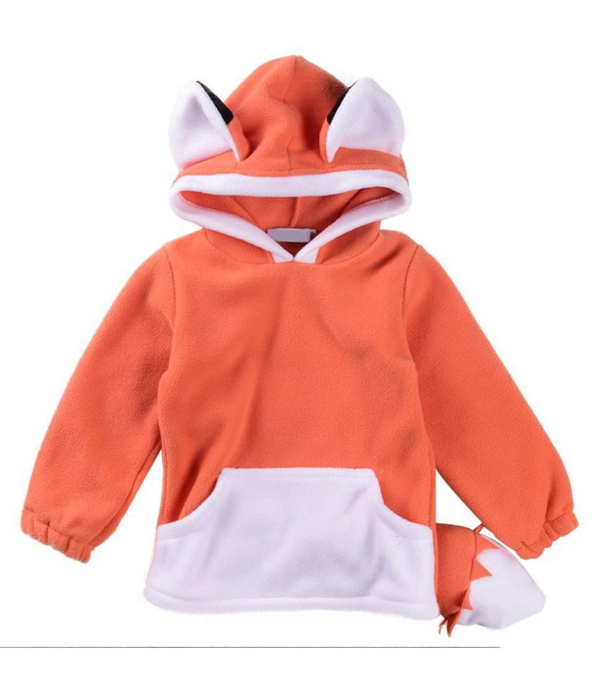Baby Girls Boys Fashion Winter Fox Pattern Long Sleeve Hoodie Top with Ears Tail
