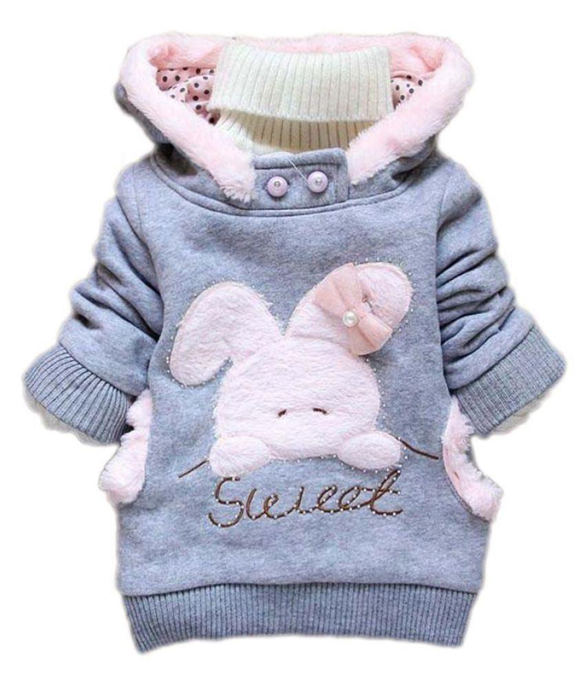 Child Cartoon Rabbit Fleece Outerwear Girl Fashion Sweatshirt Hooded Winter Coat