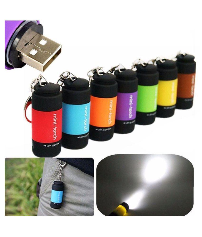 Portable Mini Torch USB Rechargeable LED Flashlight Lamp Pocket Keychain Keyring