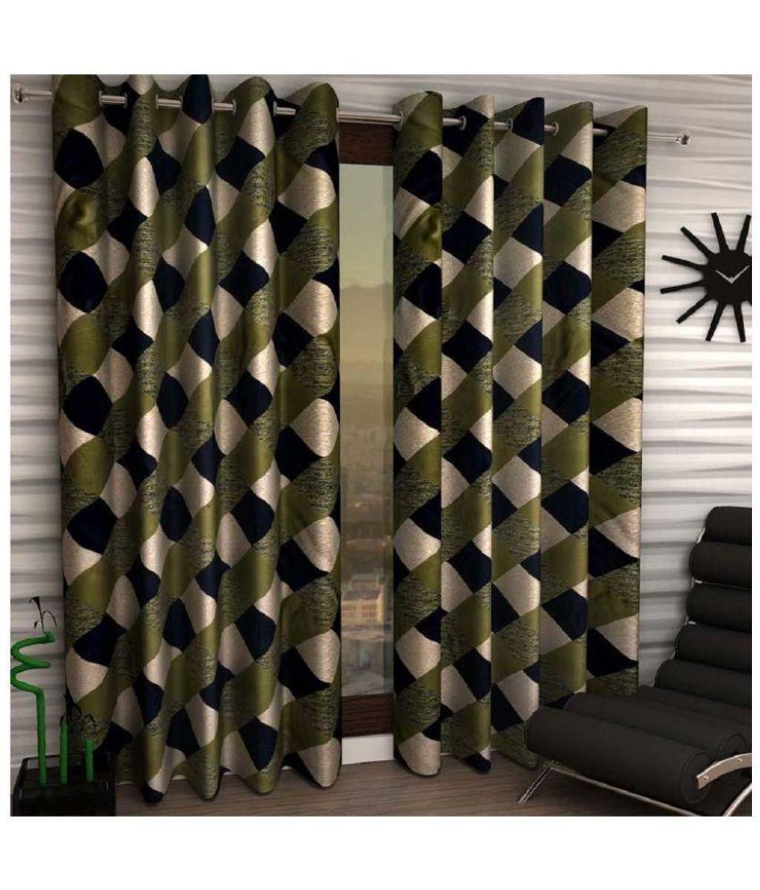 Geonature Set of 2 Door Semi-Transparent Eyelet Polyester Curtains Green