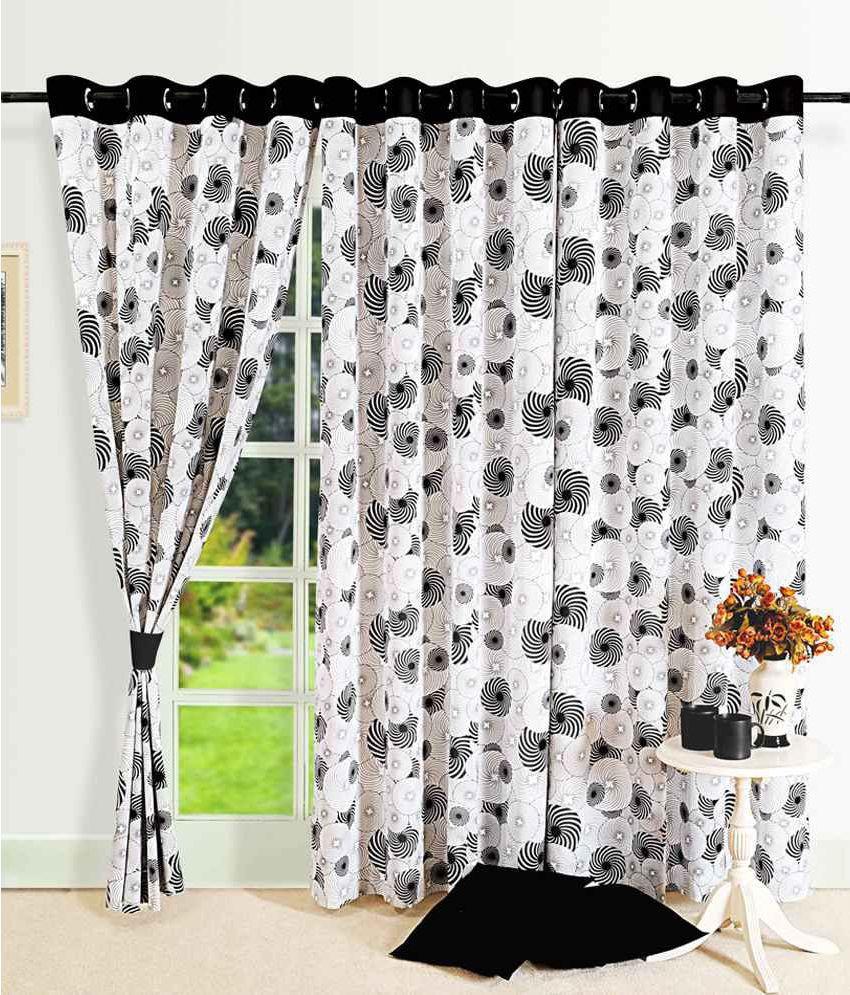 Swayam Single Door Semi-Transparent Eyelet Cotton Curtains Black