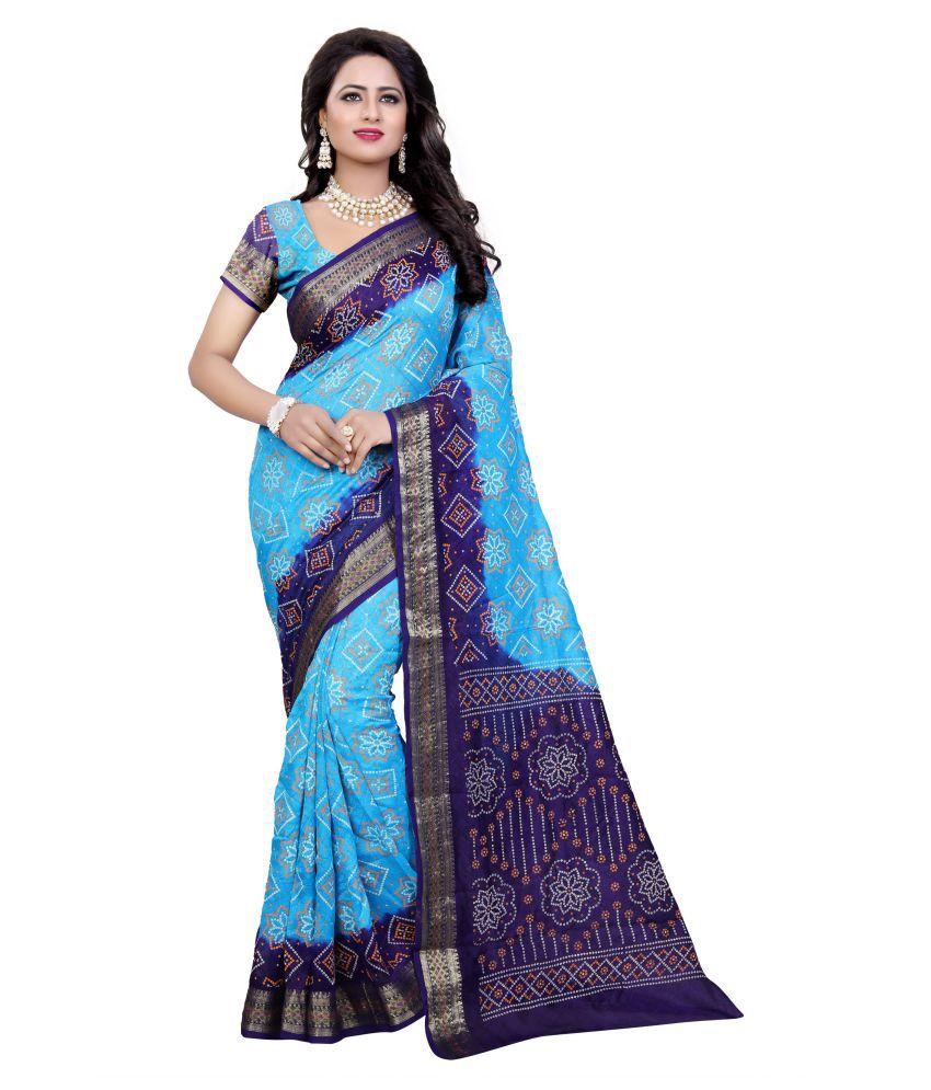 Concepta Blue and Grey Art Silk Saree