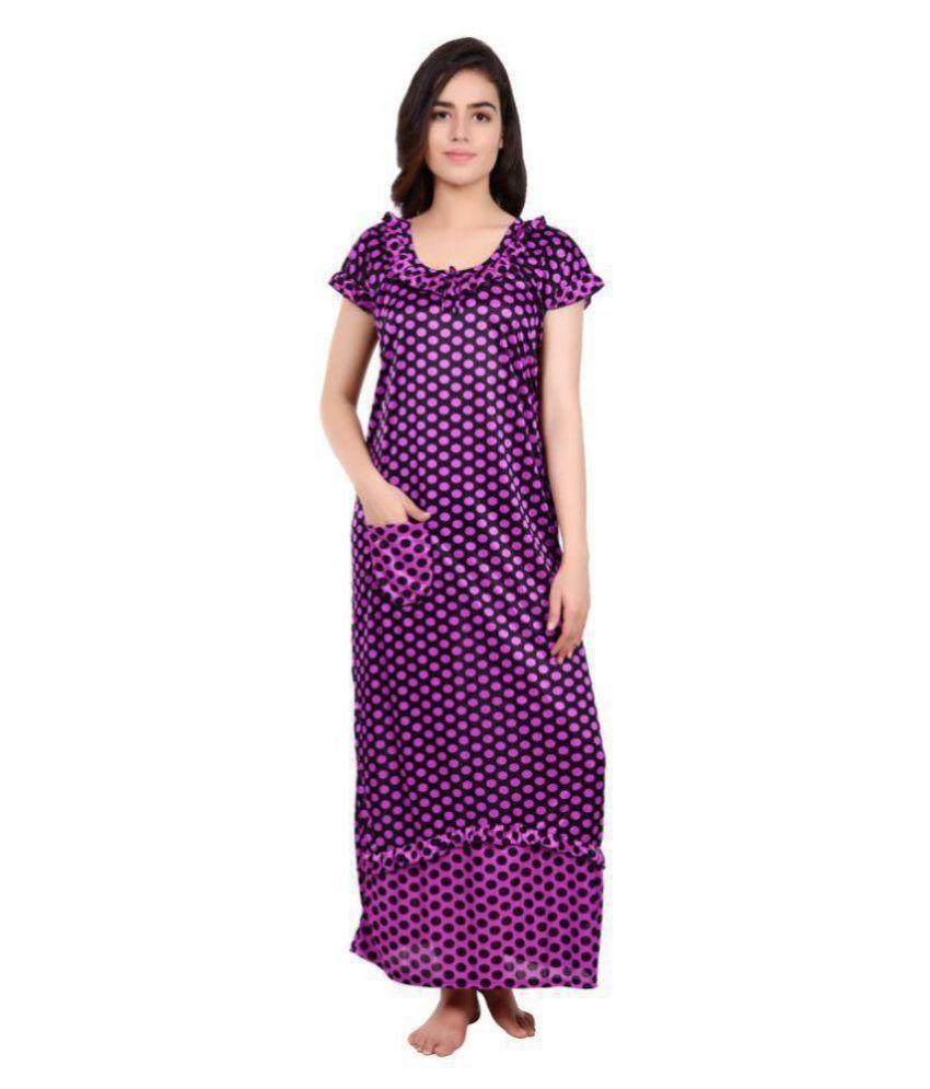 DILJEET Satin Nighty & Night Gowns - Purple