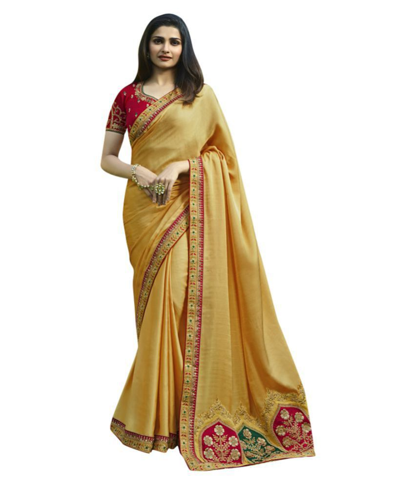 Deep Fashion Yellow and Beige Silk Saree