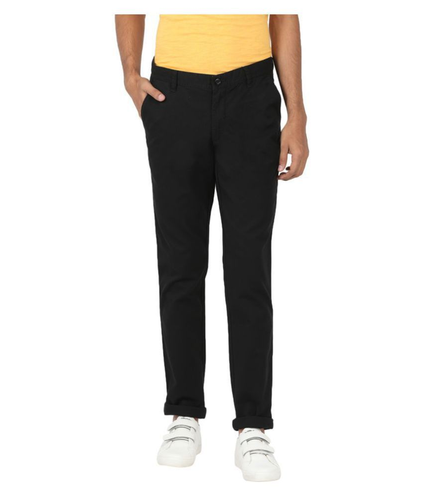 John Players Black Slim -Fit Flat Trousers