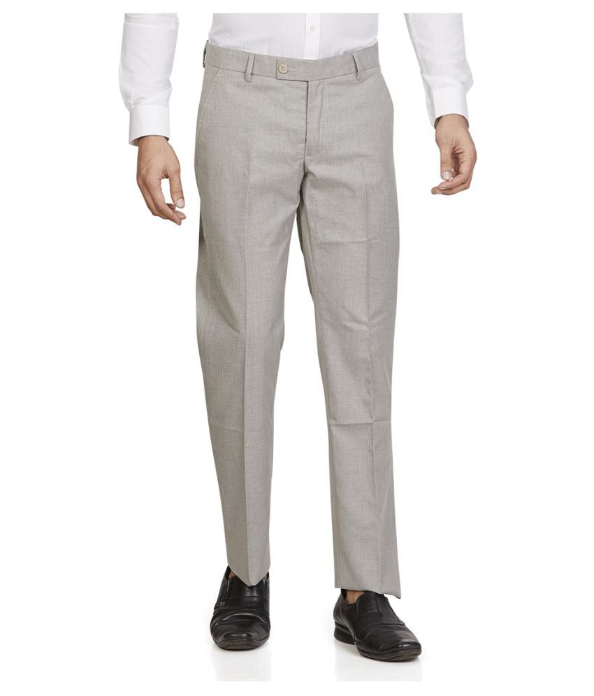 Leo Grey Tapered -Fit Flat Trousers