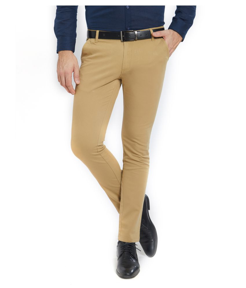Solemio Brown Slim -Fit Flat Chinos