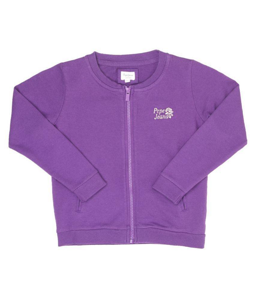 Pepe Jeans Girls Full Sleeve Casual Purple Sweat Shirt