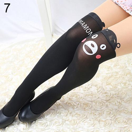 Women's Black Cartoon Thin Tights Cute Patchwork Cat Dog Rabbit Tattoo Pantyhose