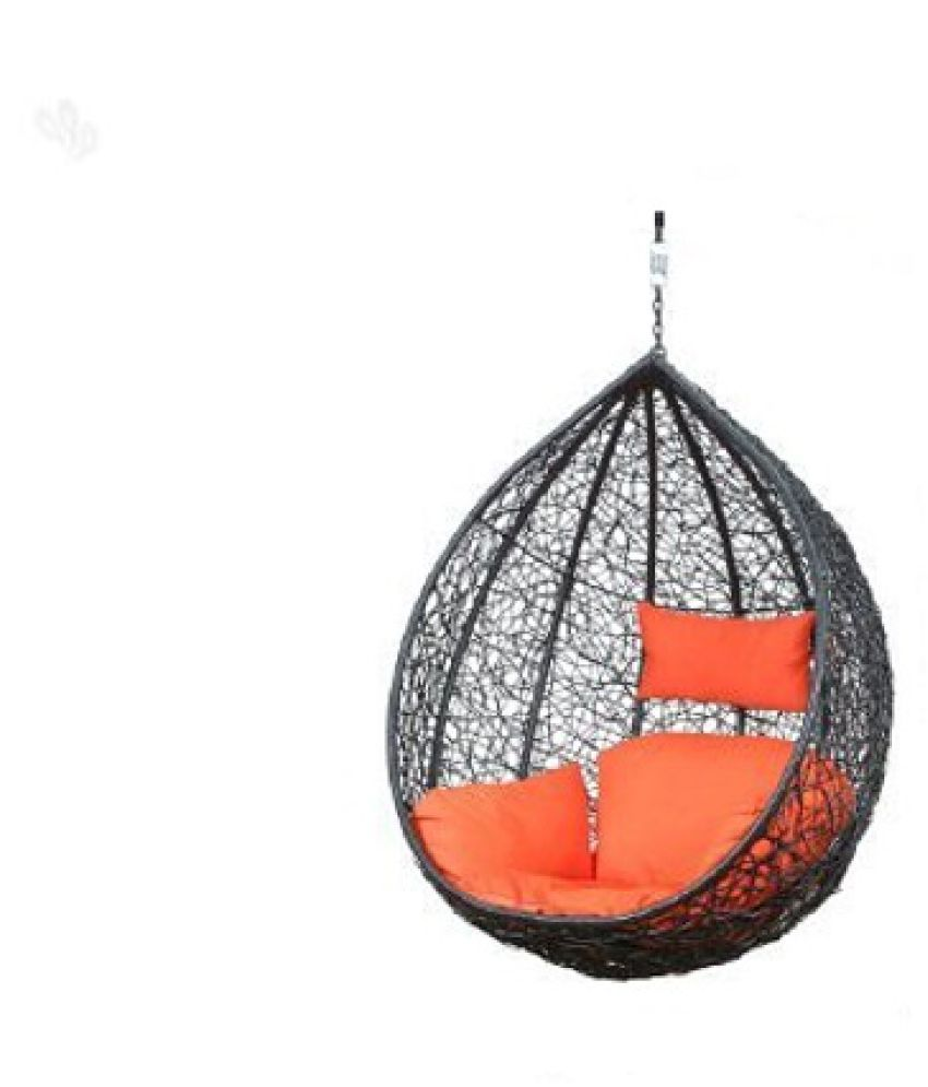 Carry Bird Hanging Swing Chair With Cushion Hook Color Brown For Outdoor Indoor Balcony Garden Patio Jhula