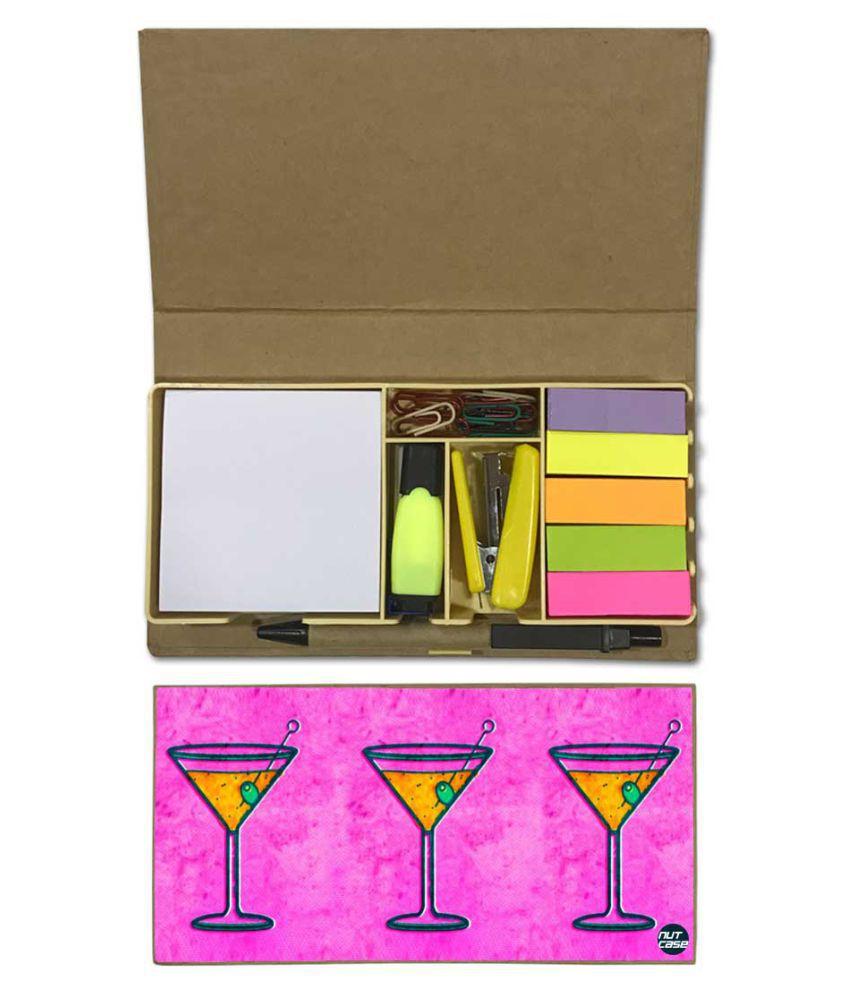 Nutcase Designer Stationary Kit Desk Customised Organizer Memo Notepad - Wine