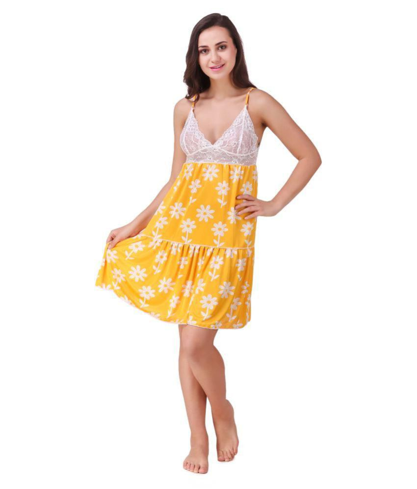 Freely Satin Baby Doll Dresses Without Panty - Yellow