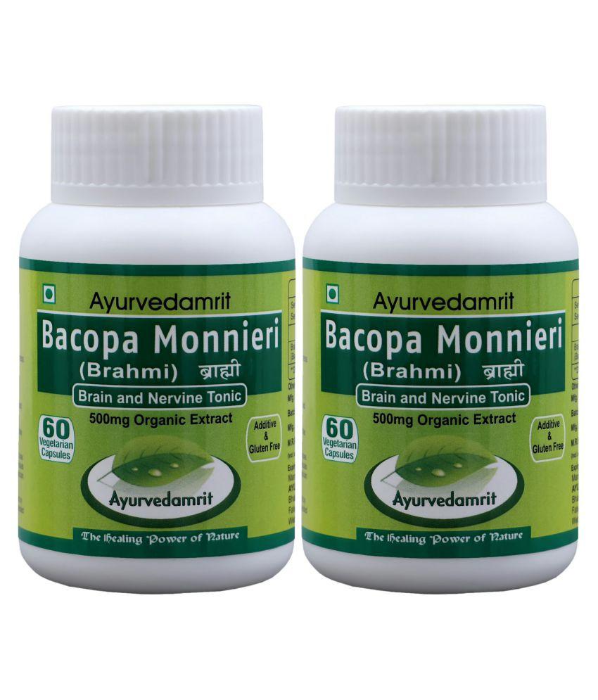 Ayurvedamrit Brahmi/Bacopa, For Brain Care* 60 Veg. Caps.| Each Capsule 500 mg Pack of 2