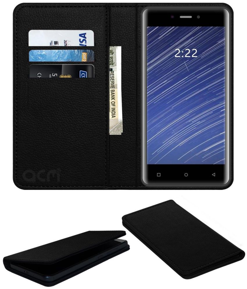 innovative design ebb80 8a949 Mobiistar Cq Flip Cover by ACM - Black Wallet Case,Can store 3 Card/Cash