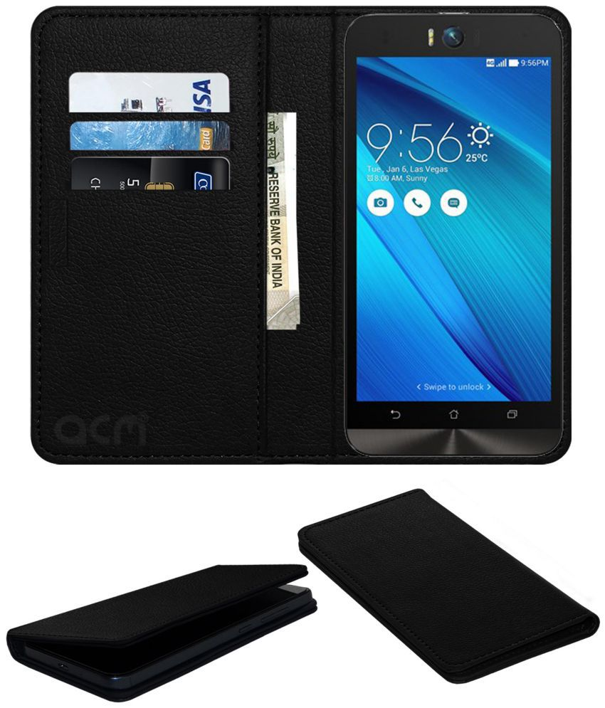 Asus Zenfone 4 Selfie Flip Cover by ACM - Black Wallet Case,Can store 3 Card/Cash
