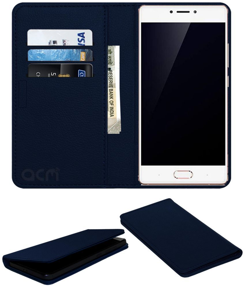 Gionee S8 Flip Cover by ACM - Blue Wallet Case,Can store 3 Card/Cash