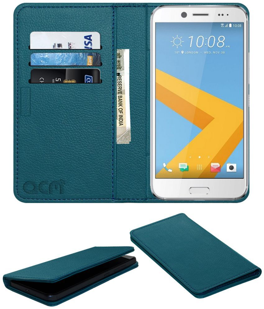 reputable site 4f35b 57279 HTC 10 Evo Flip Cover by ACM - Blue Wallet Case,Can store 3 Card/Cash