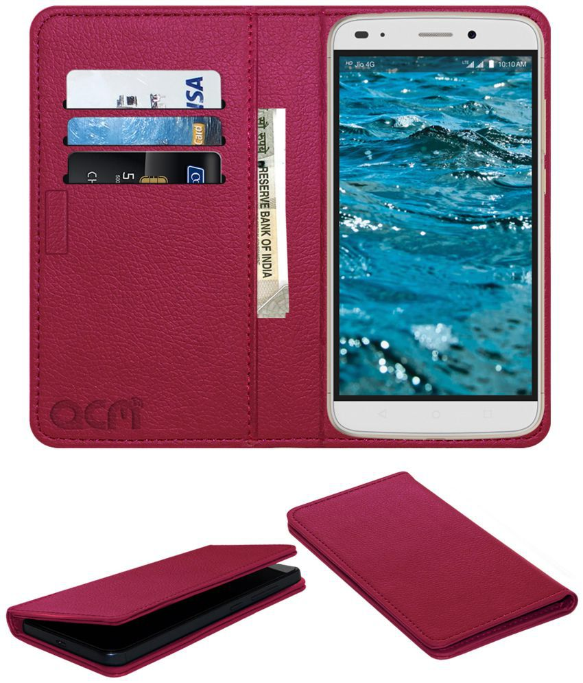 LYF Water 9 Flip Cover by ACM - Pink Wallet Case,Can store 3 Card/Cash