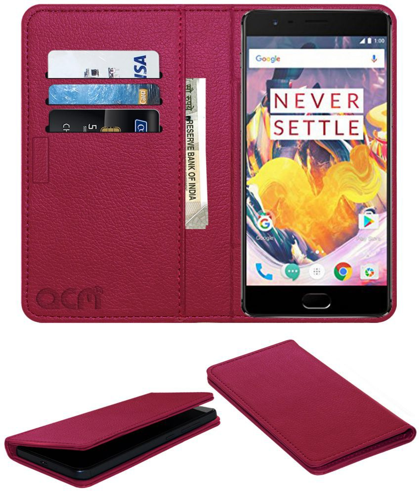 OnePlus 3 T Flip Cover by ACM - Pink Wallet Case,Can store 3 Card/Cash