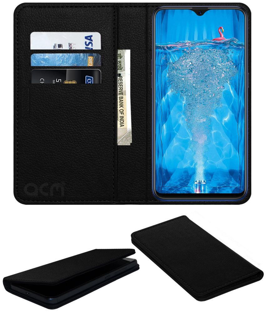 best service 2d4e0 98b8f Oppo F9 Pro Flip Cover by ACM - Black Wallet Case,Can store 3 Card/Cash