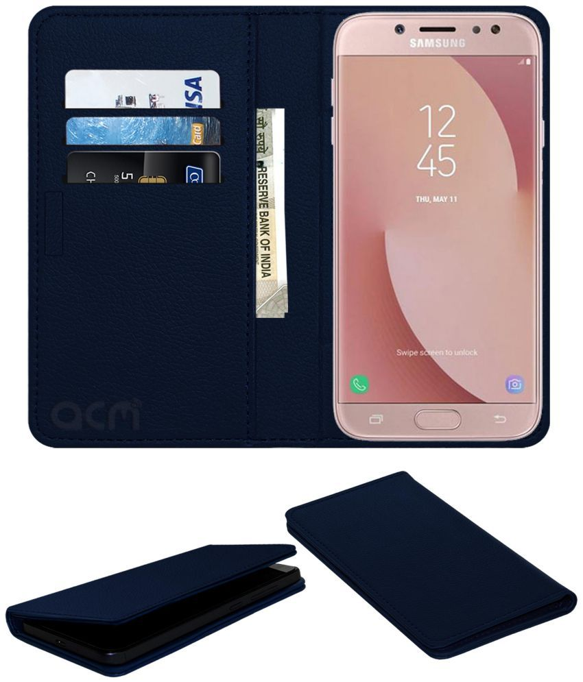 Samsung Galaxy J7 Pro Flip Cover by ACM - Blue Wallet Case,Can store 3 Card/Cash