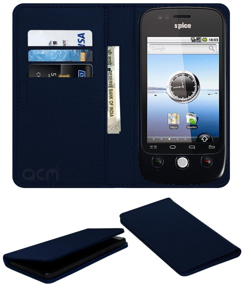 Spice Mi-300 Flip Cover by ACM - Blue Wallet Case,Can store 3 Card/Cash