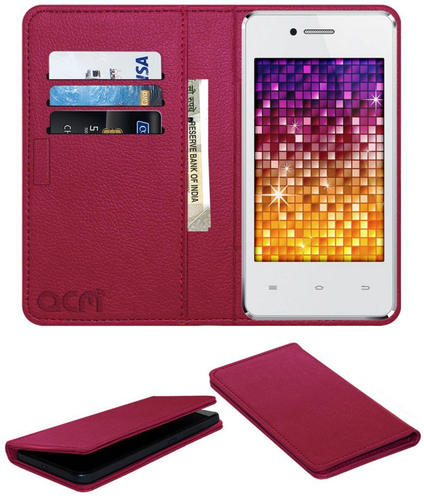 Spice Stellar Mi362 Flip Cover by ACM - Pink Wallet Case,Can store 3 Card/Cash