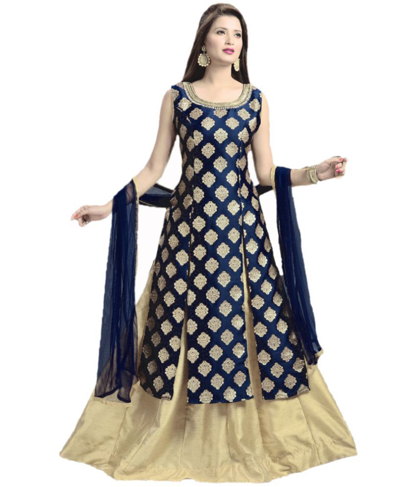 eb8acede2 New Designer Brown and Beige Jacquard Anarkali Gown Semi-Stitched Suit ...