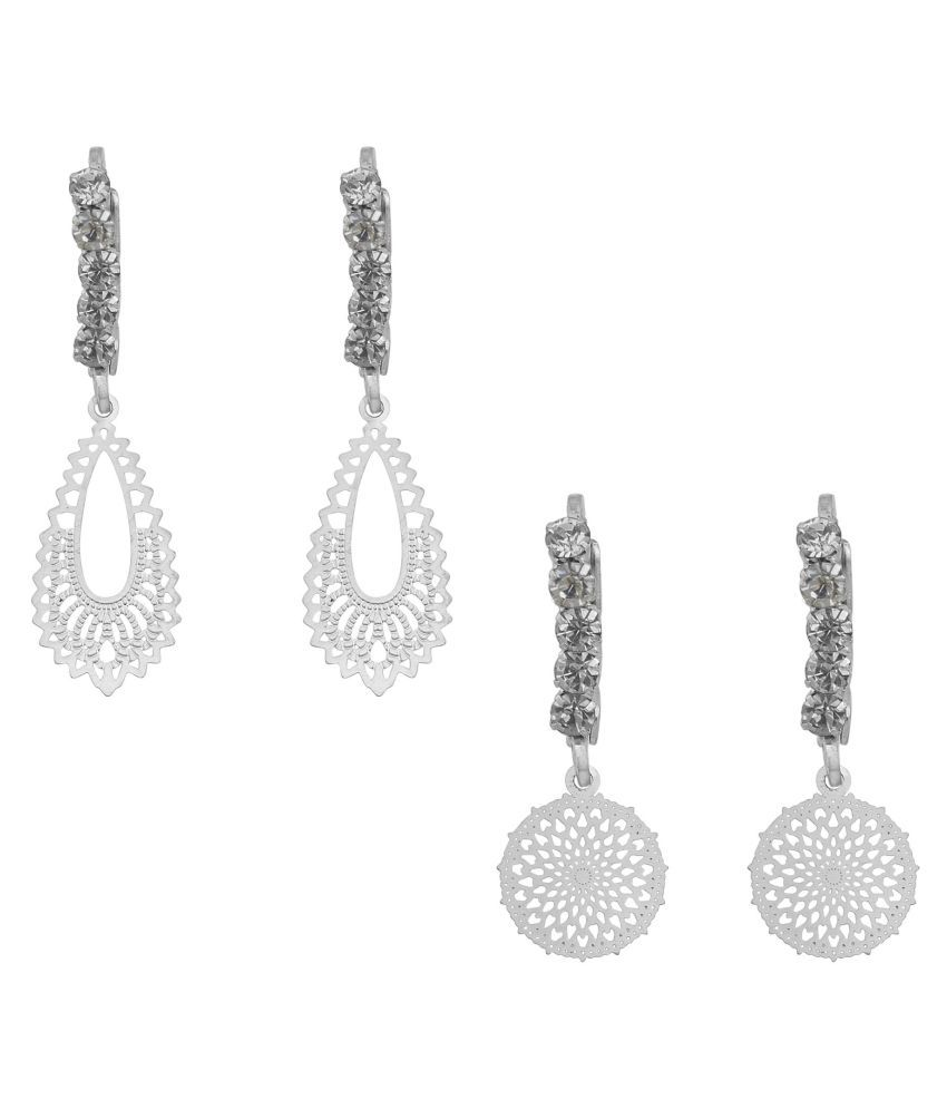 Dzine Trendz Silver plated CZ, Combo of 2 Light weight Round and  leaf design super light weight, Earring  for Girls