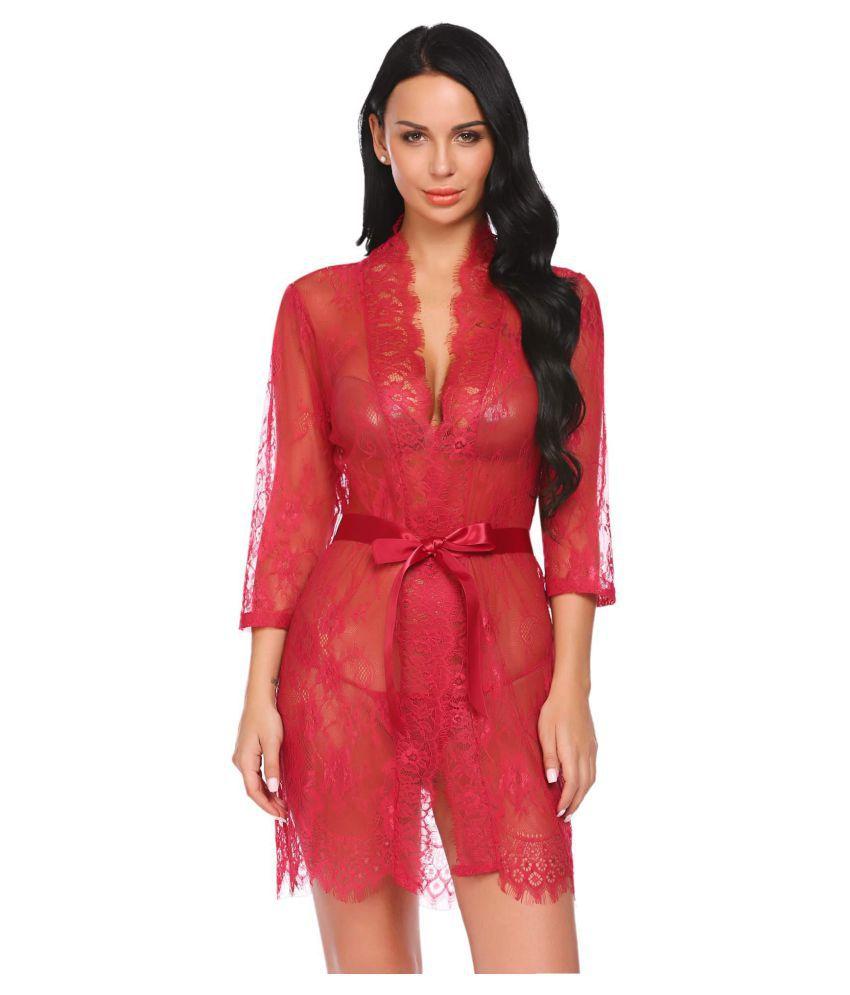 Generic Chiffon Nightsuit Sets - Red