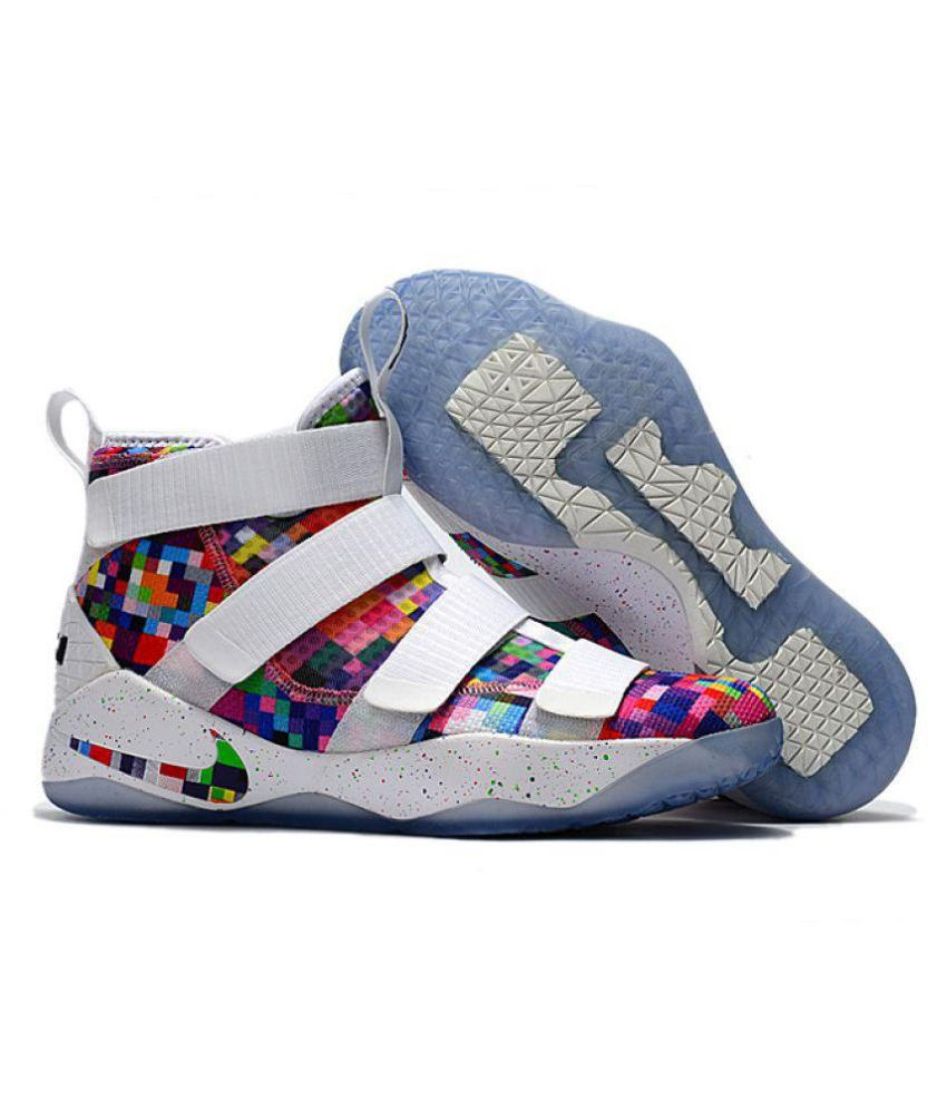 new style 7662a f61b5 Nike Lebron Soldier XI 11 White Basketball Shoes - Buy Nike Lebron Soldier  XI 11 White Basketball Shoes Online at Best Prices in India on Snapdeal