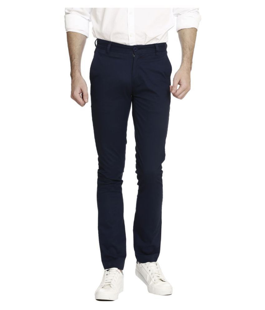 United Colors of Benetton Blue Slim -Fit Flat Chinos